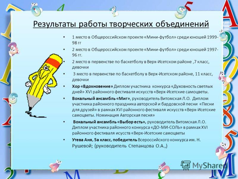 Результаты работы творческих объединений 1 место в Общероссийском проекте «Мини-футбол» среди юношей 1999- 98 гг 2 место в Общероссийском проекте «Мини-футбол» среди юношей 1997- 96 гг. 2 место в первенстве по баскетболу в Верх-Исетском районе,7 клас