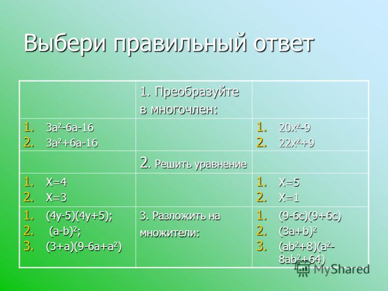 Проверочная работа 1. Преобразуйте в многочлен : (а-4)(а+4)-2а(3-а) (4х+3) 2 -6х(4-х) 2. Решить уравнение: (х-7) 2 +3=(х-2)(х+2) (х+6) 2 =(х-5)(х+5)+73 3. Разложить на множители: а) 16y 2 -25; б) 4a 2 - 4ab+b 2 ; в) 27-а 6 b 3 a) 81-36c 2 ; б) 9а 2 +