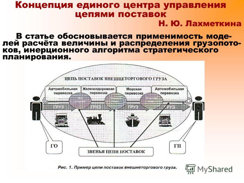 Концепция единого центра управления цепями поставок Н. Ю. Лахметкина В статье обосновывается применимость моде- лей расчёта величины и распределения грузопото- ков, инерционного алгоритма стратегического планирования.