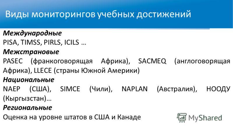 Виды мониторингов учебных достижений Международные PISA, TIMSS, PIRLS, ICILS … Межстрановые PASEC (франкоговорящая Африка), SACMEQ (англоговорящая Африка), LLECE (страны Южной Америки) Национальные NAEP (США), SIMCE (Чили), NAPLAN (Австралия), НООДУ