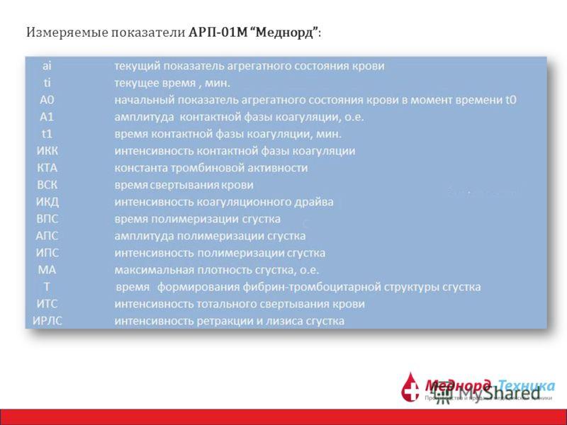Измеряемые показатели АРП-01М Меднорд: