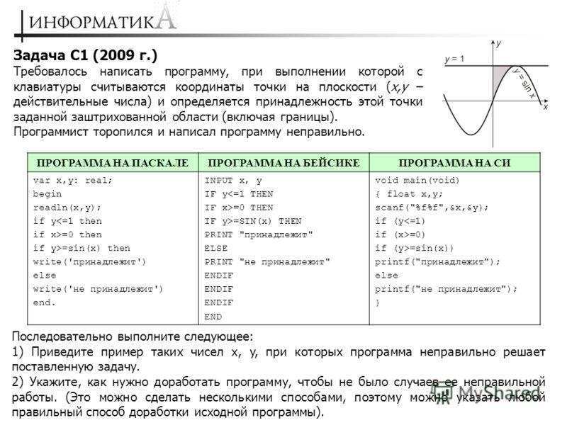 Задача С1 (2009 г.) Требовалось написать программу, при выполнении которой с клавиатуры считываются координаты точки на плоскости (x,y – действительные числа) и определяется принадлежность этой точки заданной заштрихованной области (включая границы).