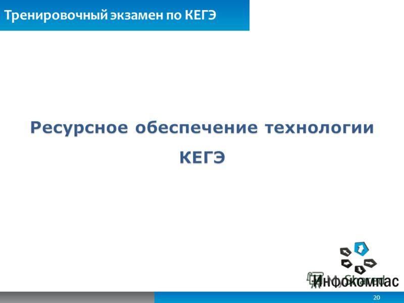 Обеспечение ИБ при работе с электронными КИМ Тренировочный экзамен по КЕГЭ 20