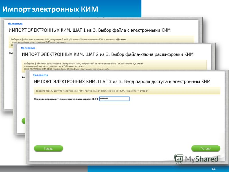 Импорт электронных КИМ 44