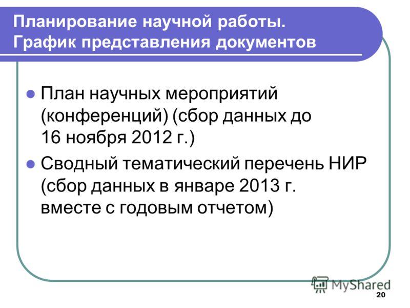 20 План научных мероприятий (конференций) (сбор данных до 16 ноября 2012 г.) Сводный тематический перечень НИР (сбор данных в январе 2013 г. вместе с годовым отчетом) Планирование научной работы. График представления документов