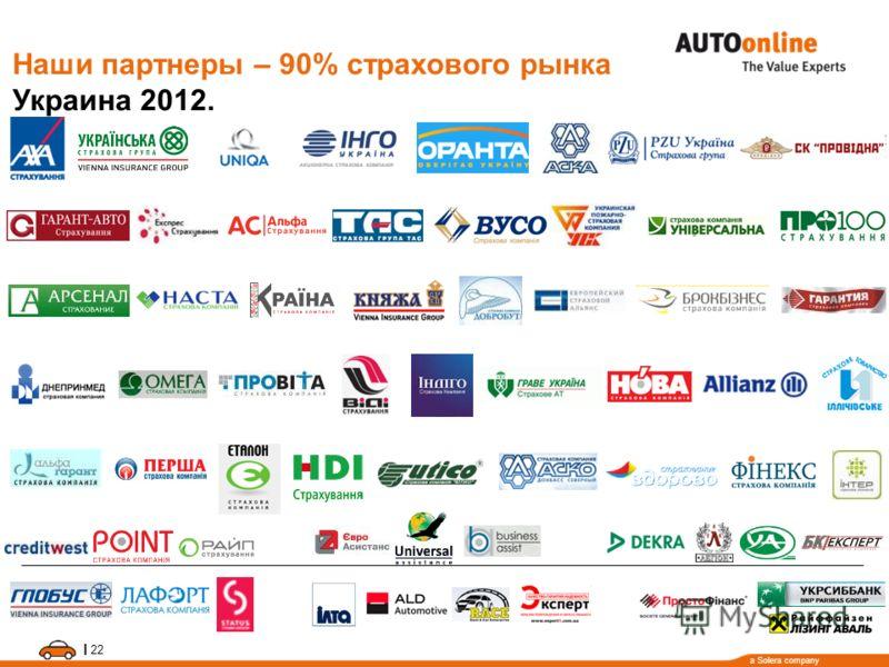a Solera company I 22 Наши партнеры – 90% страхового рынка Украина 2012.