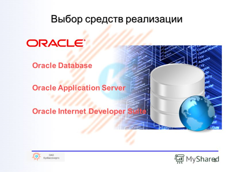 6 Выбор средств реализации Oracle Database Oracle Application Server Oracle Internet Developer Suite