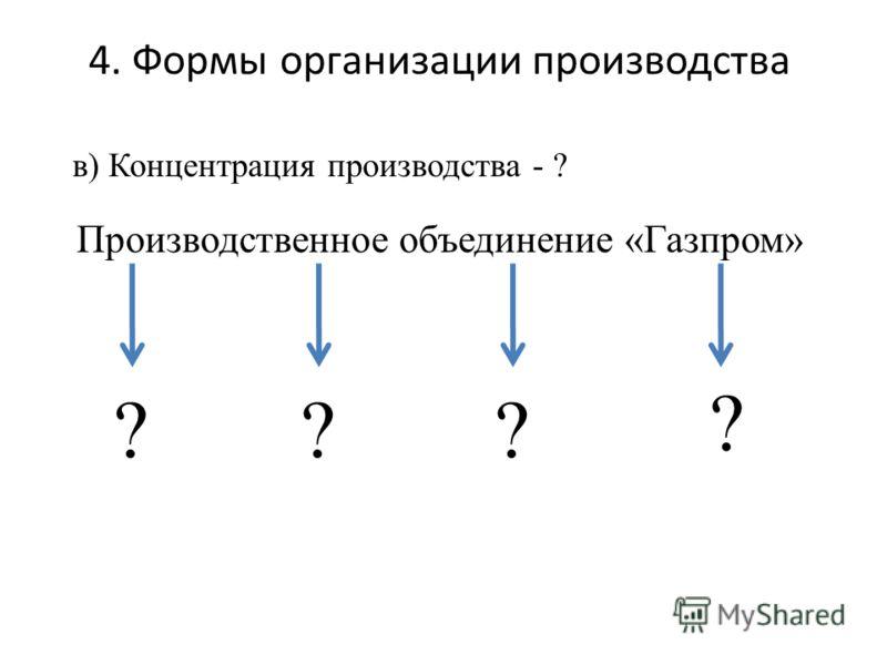 4. Формы организации производства Производственное объединение «Газпром» в) Концентрация производства - ? ??? ?