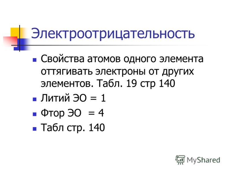 Электроотрицательность Свойства атомов одного элемента оттягивать электроны от других элементов. Табл. 19 стр 140 Литий ЭО = 1 Фтор ЭО = 4 Табл стр. 140