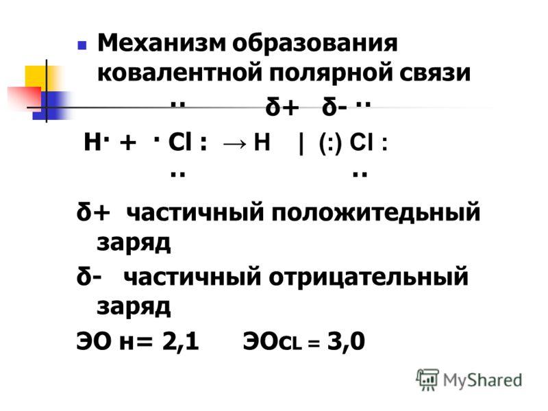 Механизм образования ковалентной полярной связи ·· δ+ δ- ·· Н· + · Cl : Н | (:) Cl : ·· ·· δ+ частичный положитедьный заряд δ- частичный отрицательный заряд ЭО н= 2,1 ЭОс L = 3,0