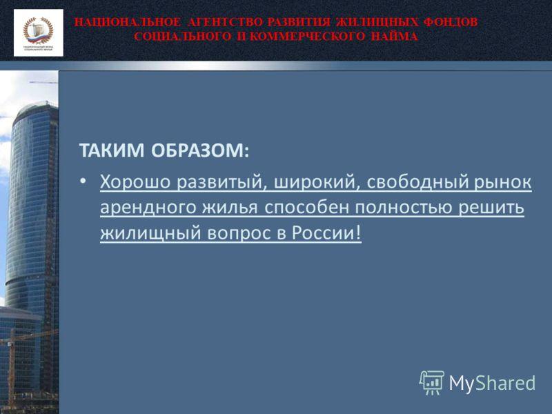 НАЦИОНАЛЬНОЕ АГЕНТСТВО РАЗВИТИЯ ЖИЛИЩНЫХ ФОНДОВ СОЦИАЛЬНОГО И КОММЕРЧЕСКОГО НАЙМА ТАКИМ ОБРАЗОМ: Хорошо развитый, широкий, свободный рынок арендного жилья способен полностью решить жилищный вопрос в России!