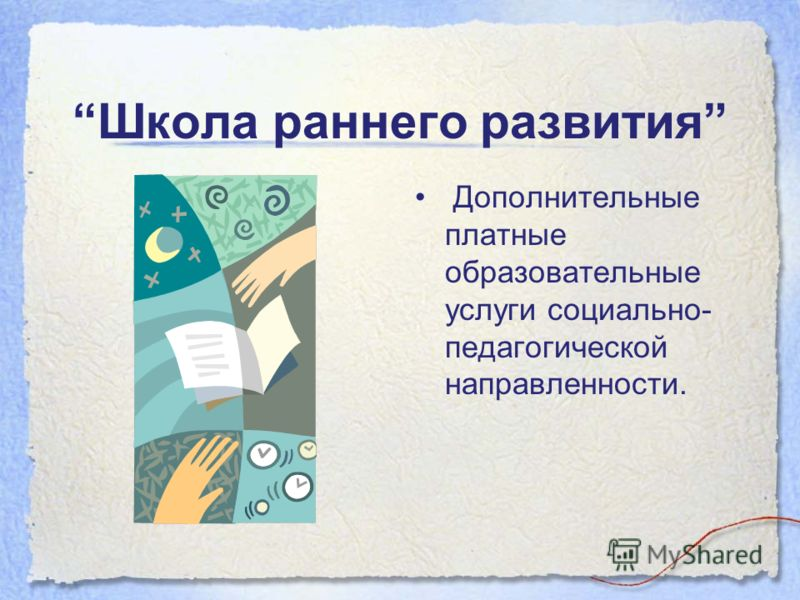 Школа раннего развития Дополнительные платные образовательные услуги социально- педагогической направленности.