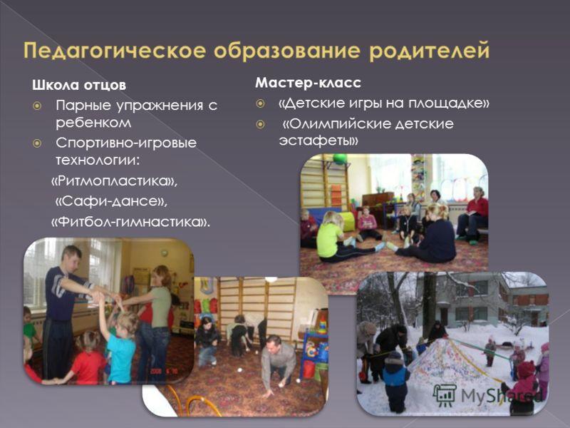 Школа отцов Парные упражнения с ребенком Спортивно-игровые технологии: «Ритмопластика», «Сафи-дансе», «Фитбол-гимнастика». Мастер-класс «Детские игры на площадке» «Олимпийские детские эстафеты»
