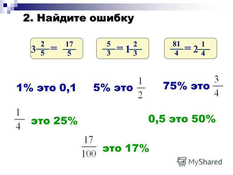 2. Найдите ошибку 2 5 17 5 = 3 5 3 2 3 = 1 81 4 1 4 = 2 1% это 0,1 5% это 75% это это 25% это 17% 0,5 это 50%