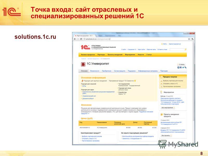 88 Точка входа: сайт отраслевых и специализированных решений 1С solutions.1c.ru