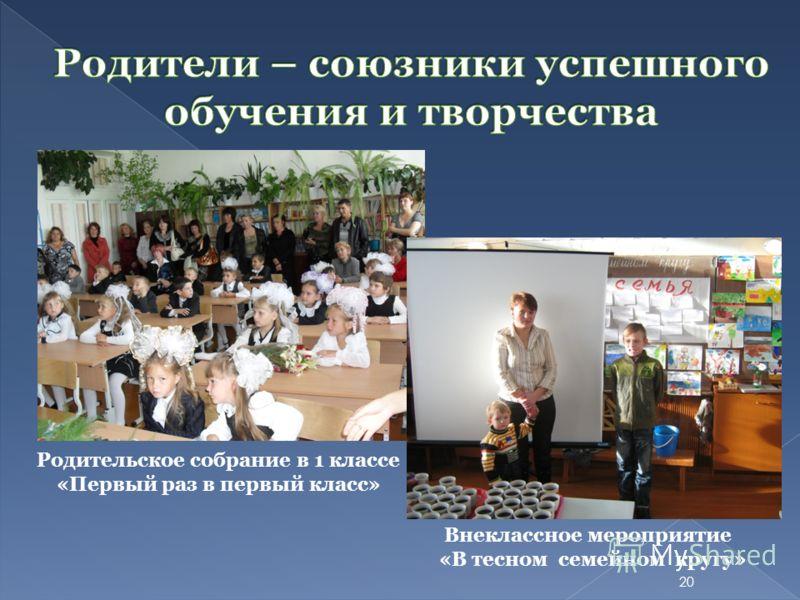 Внеклассное мероприятие «В тесном семейном кругу» Родительское собрание в 1 классе «Первый раз в первый класс» 20