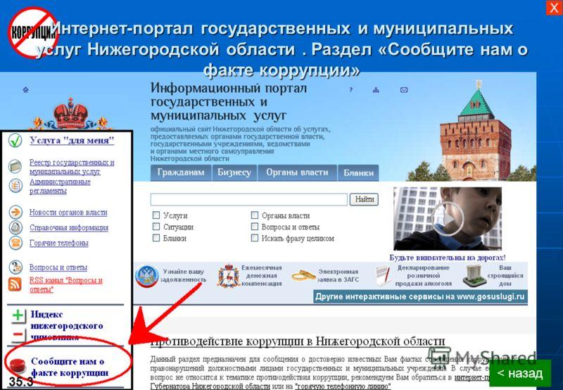 < назад 35.3 Интернет-портал государственных и муниципальных услуг Нижегородской области. Раздел «Сообщите нам о факте коррупции» X