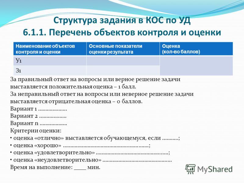 Структура задания в КОС по УД 6.1.1. Перечень объектов контроля и оценки Наименование объектов контроля и оценки Основные показатели оценки результата Оценка (кол-во баллов) У1 З1 За правильный ответ на вопросы или верное решение задачи выставляется