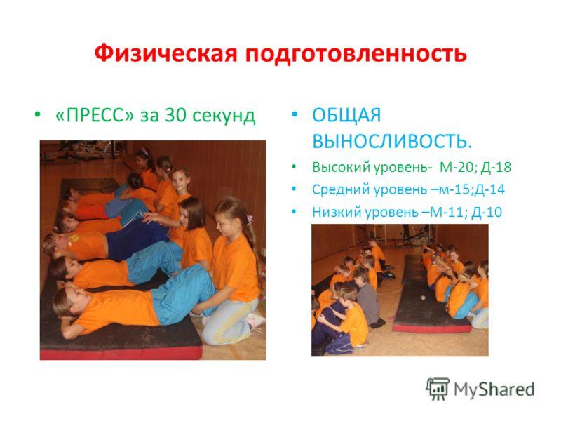 Физическая подготовленность «ПРЕСС» за 30 секунд ОБЩАЯ ВЫНОСЛИВОСТЬ. Высокий уровень- М-20; Д-18 Средний уровень –м-15;Д-14 Низкий уровень –М-11; Д-10