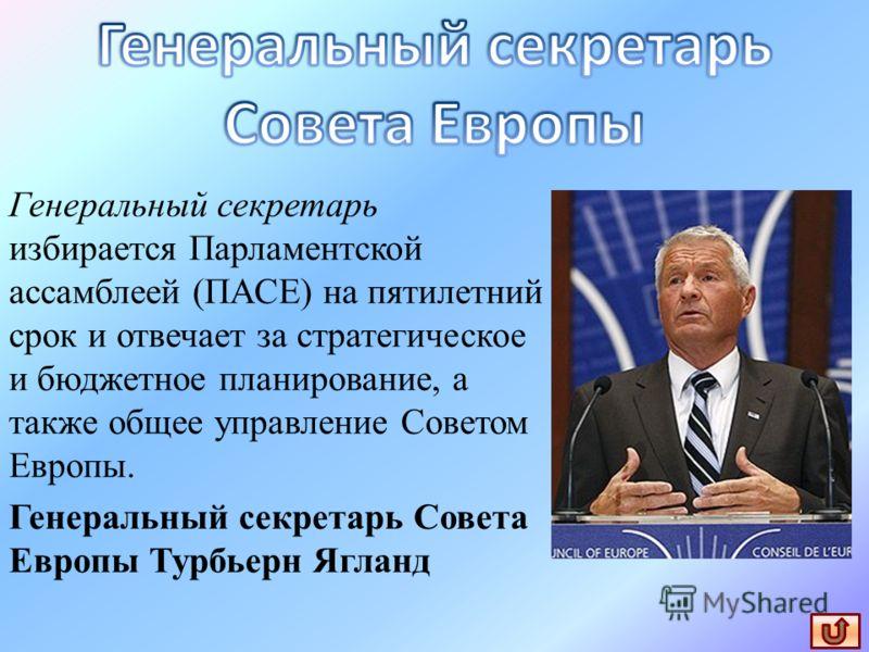 Генеральный секретарь избирается Парламентской ассамблеей (ПАСЕ) на пятилетний срок и отвечает за стратегическое и бюджетное планирование, а также общее управление Советом Европы. Генеральный секретарь Совета Европы Турбьерн Ягланд