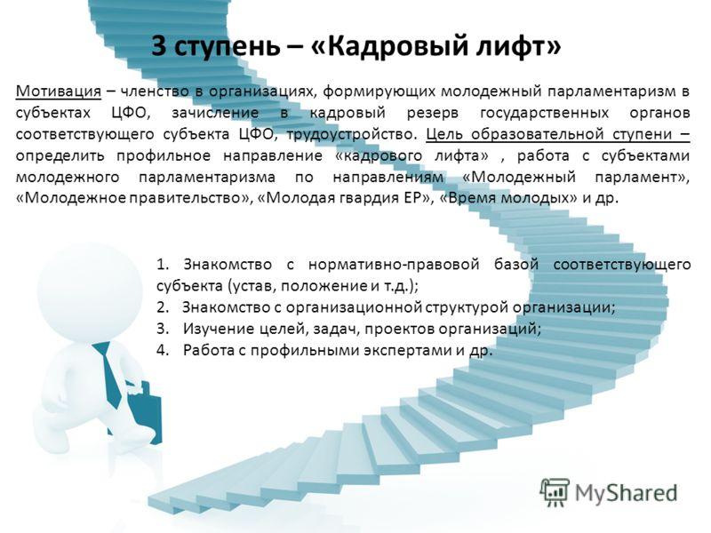 3 ступень – «Кадровый лифт» Мотивация – членство в организациях, формирующих молодежный парламентаризм в субъектах ЦФО, зачисление в кадровый резерв государственных органов соответствующего субъекта ЦФО, трудоустройство. Цель образовательной ступени