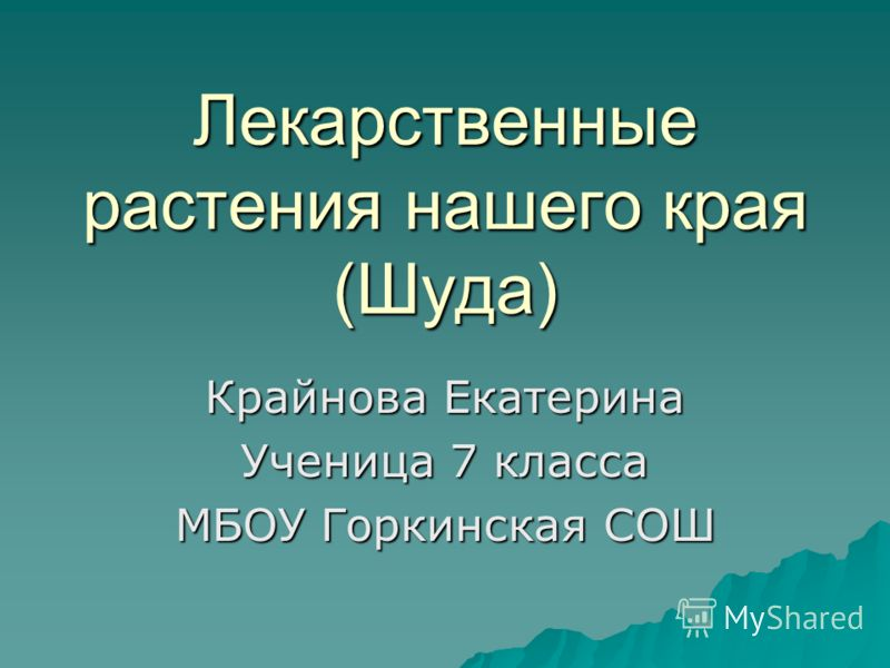 Лекарственные растения нашего края (Шуда) Крайнова Екатерина Ученица 7 класса МБОУ Горкинская СОШ