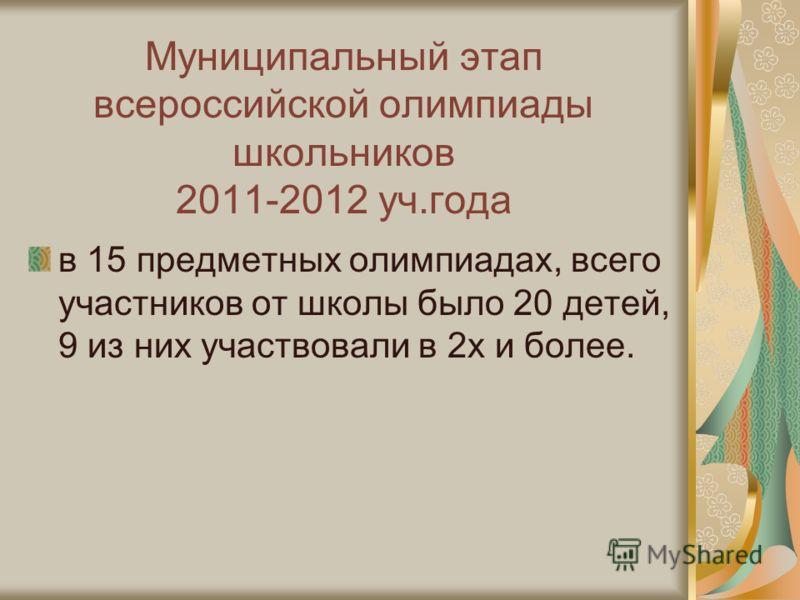 Муниципальный этап всероссийской олимпиады школьников 2011-2012 уч.года в 15 предметных олимпиадах, всего участников от школы было 20 детей, 9 из них участвовали в 2х и более.