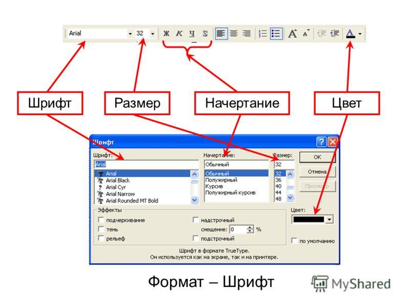 РазмерНачертаниеЦвет Шрифт Формат – Шрифт