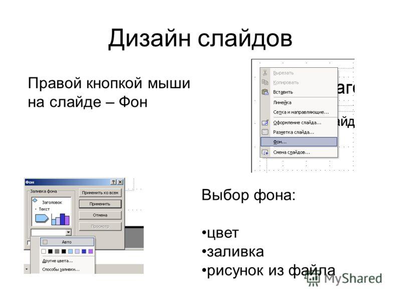 Дизайн слайдов Правой кнопкой мыши на слайде – Фон Выбор фона: цвет заливка рисунок из файла