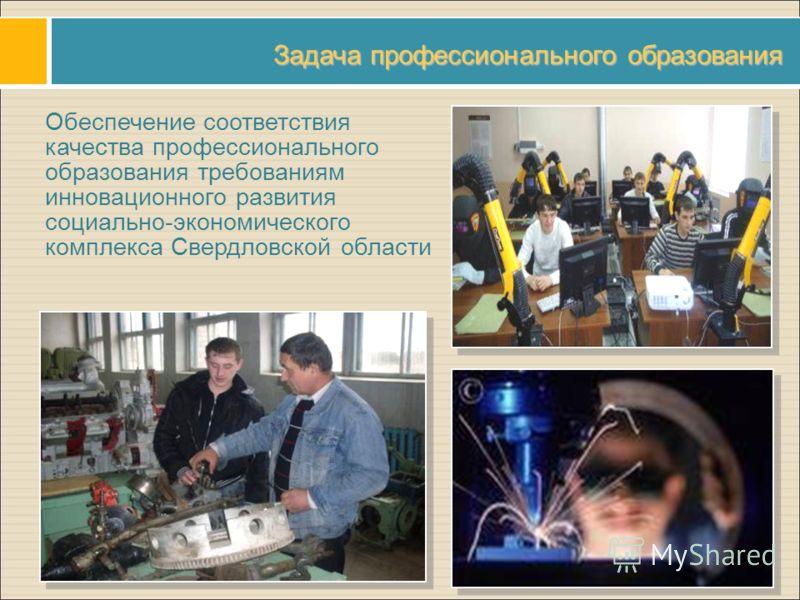 Задача профессионального образования Обеспечение соответствия качества профессионального образования требованиям инновационного развития социально-экономического комплекса Свердловской области