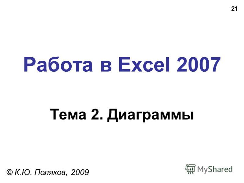 21 Работа в Excel 2007 Тема 2. Диаграммы © К.Ю. Поляков, 2009