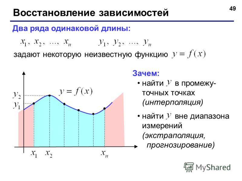 49 Восстановление зависимостей Два ряда одинаковой длины: задают некоторую неизвестную функцию Зачем: найти в промежу- точных точках (интерполяция) найти вне диапазона измерений (экстраполяция, прогнозирование)