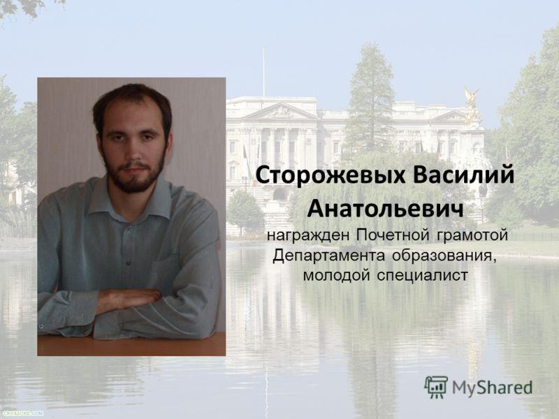 Сторожевых Василий Анатольевич награжден Почетной грамотой Департамента образования, молодой специалист