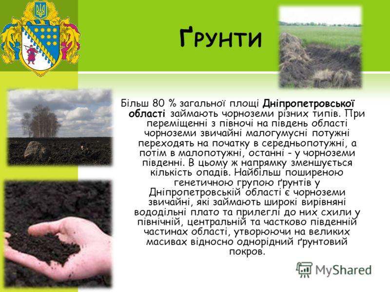 Ґ РУНТИ Більш 80 % загальної площі Дніпропетровської області займають чорноземи різних типів. При переміщенні з півночі на південь області чорноземи звичайні малогумусні потужні переходять на початку в середньопотужні, а потім в малопотужні, останні