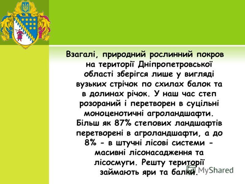 Взагалі, природний рослинний покров на території Дніпропетровської області зберігся лише у вигляді вузьких стрічок по схилах балок та в долинах річок. У наш час степ розораний і перетворен в суцільні моноценотичні агроландшафти. Більш як 87% степових