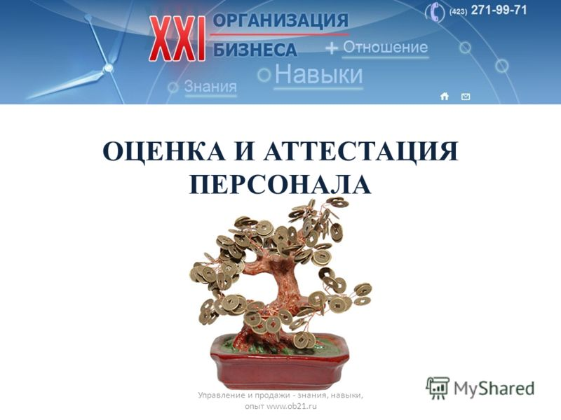 ОЦЕНКА И АТТЕСТАЦИЯ ПЕРСОНАЛА Управление и продажи - знания, навыки, опыт www.ob21.ru