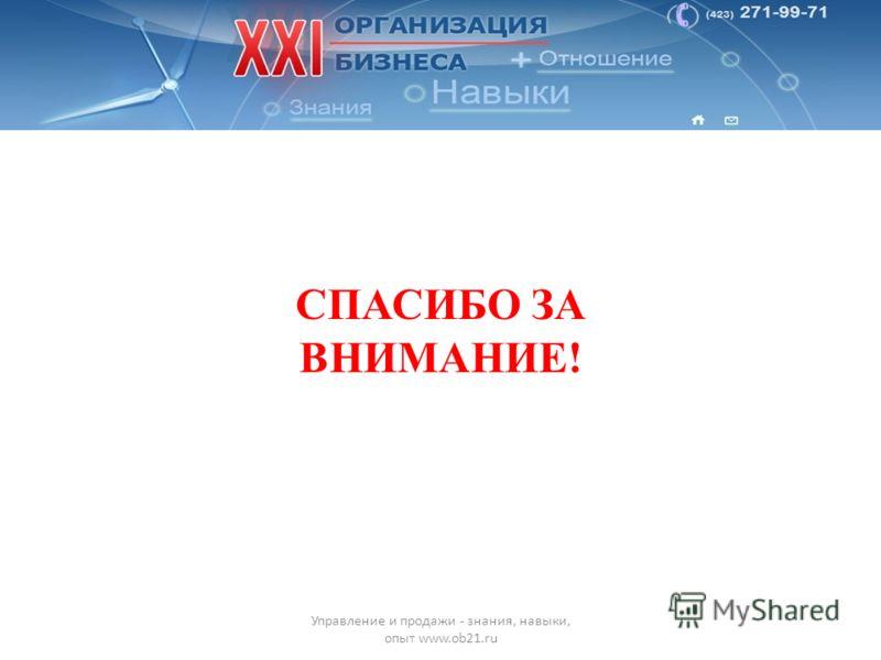 П ФИО Управление и продажи - знания, навыки, опыт www.ob21.ru СПАСИБО ЗА ВНИМАНИЕ!