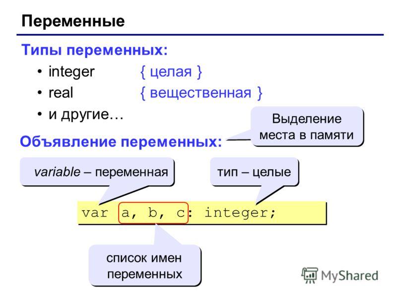 Переменные Типы переменных: integer{ целая } real{ вещественная } и другие… Объявление переменных: var a, b, c: integer; Выделение места в памяти variable – переменная тип – целые список имен переменных
