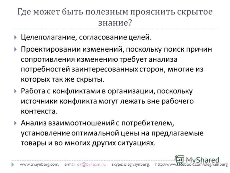 Где может быть полезным прояснить скрытое знание ? www.ovaynberg.com, e-mail: ov@bvTeam.ru, skype: oleg.vaynberg, http://www.facebook.com/oleg.vainbergov@bvTeam.ru Целеполагание, согласование целей. Проектировании изменений, поскольку поиск причин со