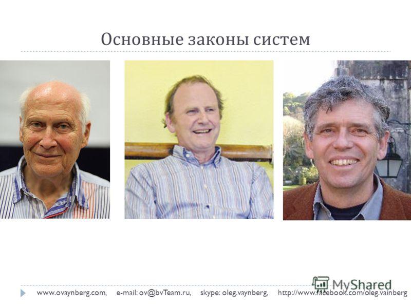 Основные законы систем www.ovaynberg.com, e-mail: ov@bvTeam.ru, skype: oleg.vaynberg, http://www.facebook.com/oleg.vainberg