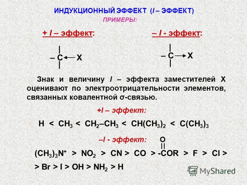 ИНДУКЦИОННЫЙ ЭФФЕКТ (I – ЭФФЕКТ) + I – эффект: – I - эффект: – C X | | | | Знак и величину I – эффекта заместителей X оценивают по электроотрицательности элементов, связанных ковалентной σ-связью. ПРИМЕРЫ: –I - эффект: (CH 3 ) 3 N + > NO 2 > CN > CO