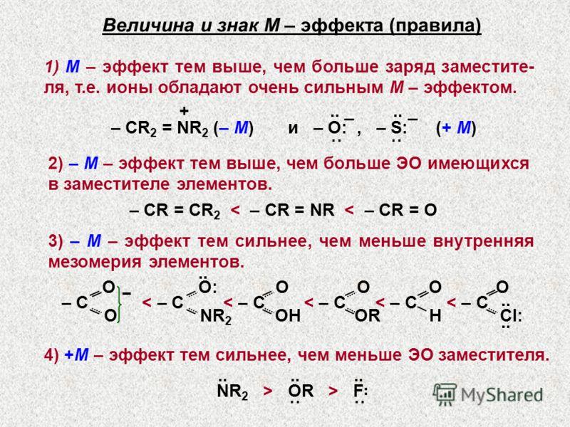 Величина и знак М – эффекта (правила) 1) М – эффект тем выше, чем больше заряд заместите- ля, т.е. ионы обладают очень сильным М – эффектом. – СR 2 = NR 2 (– М) и – O:, – S: +.. _.. _ ˙˙ ˙˙ (+ М) 2) – М – эффект тем выше, чем больше ЭО имеющихся в за