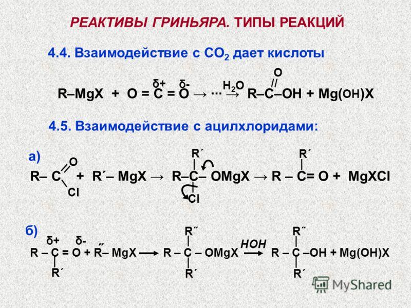 R– C + R΄– MgX R–C– OMgX R – C= O + MgXCl РЕАКТИВЫ ГРИНЬЯРА. ТИПЫ РЕАКЦИЙ 4.4. Взаимодействие с CO 2 дает кислоты Cl O // \ H2OH2O R–MgX + O = C = O ··· R–C–OH + Mg( OH )X δ+δ+ δ-δ- СlСl | // O 4.5. Взаимодействие с ацилхлоридами: | | R΄ R – C = O +