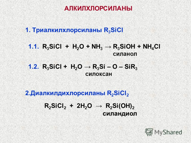 АЛКИЛХЛОРСИЛАНЫ 1. Триалкилхлорсиланы R 3 SiCl 1.1. R 3 SiCl + H 2 O + NH 3 R 3 SiOH + NH 4 Cl силанол 1.2. R 3 SiCl + H 2 O R 3 Si – O – SiR 3 силоксан 2.Диалкилдихлорсиланы R 2 SiCl 2 R 2 SiCl 2 + 2H 2 O R 2 Si(OH) 2 силандиол