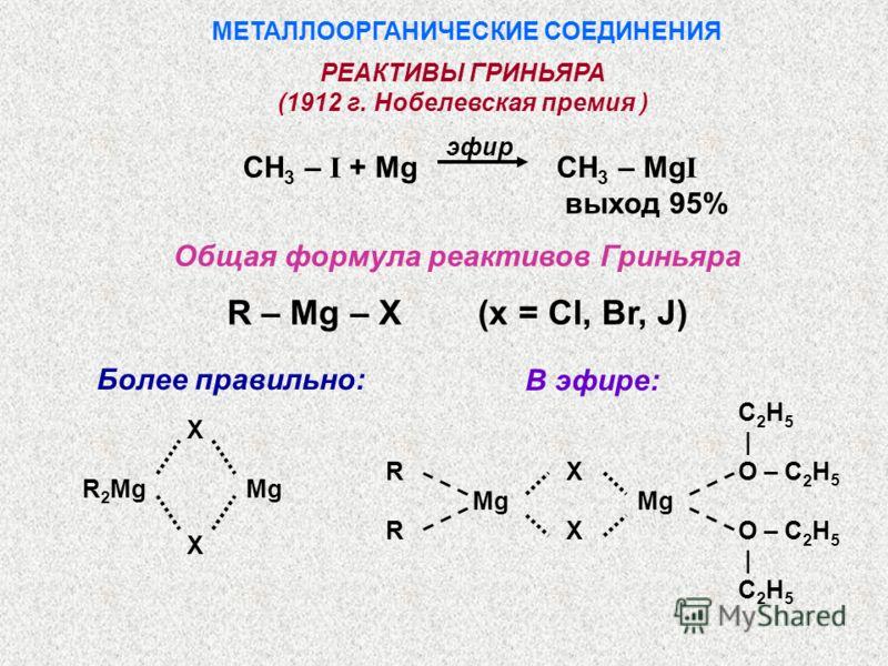 МЕТАЛЛООРГАНИЧЕСКИЕ СОЕДИНЕНИЯ CH 3 – I + Mg CH 3 – Mg I выход 95% Общая формула реактивов Гриньяра R – Mg – X (x = Cl, Br, J) РЕАКТИВЫ ГРИНЬЯРА (1912 г. Нобелевская премия ) Более правильно: X R 2 Mg Mg X В эфире: C 2 H 5 | R X O – C 2 H 5 Mg Mg R X