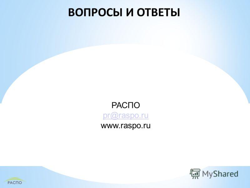 ВОПРОСЫ И ОТВЕТЫ РАСПО pr@raspo.ru www.raspo.ru