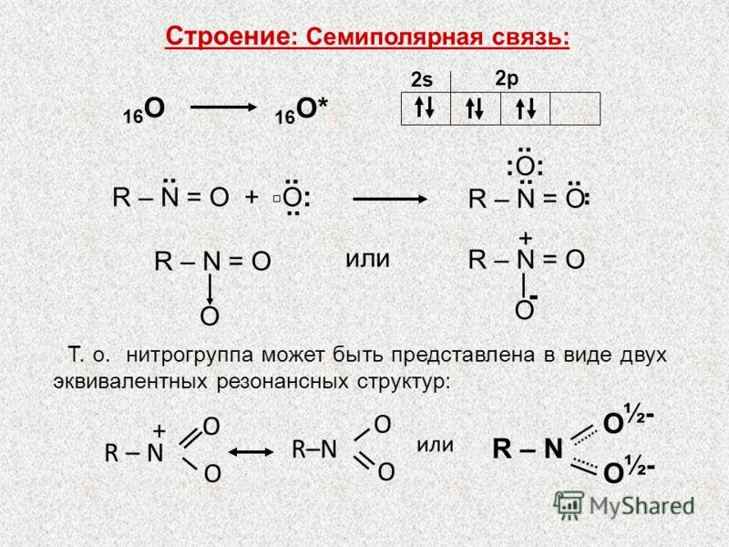 16 O* 16 O 2s 2p или R – N = O O + O R – N O O ½- R – N = O :O::O:.. R – N = O + О :.. Строение : Семиполярная связь: R – N O O + O O - или Т. о. нитрогруппа может быть представлена в виде двух эквивалентных резонансных структур: