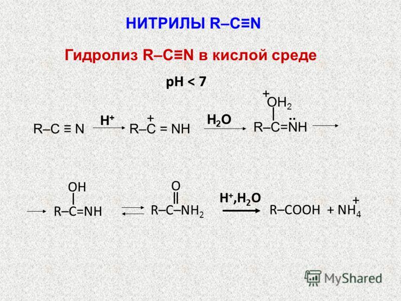 pH < 7 H2OH2O R–C N H+H+ R–C = NН +.. OH 2 + R–C=NH OH R–C–NН 2 O H +,H 2 O R–COOH + NH 4 + НИТРИЛЫ R–CN Гидролиз R–CN в кислой среде