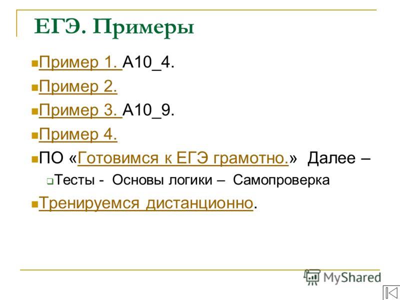 Пример 1. А10_4. Пример 1. Пример 2. Пример 2. Пример 3. A10_9. Пример 3. Пример 4. ПО «Готовимся к ЕГЭ грамотно.» Далее –Готовимся к ЕГЭ грамотно. Тесты - Основы логики – Самопроверка Тренируемся дистанционно. Тренируемся дистанционно ЕГЭ. Примеры