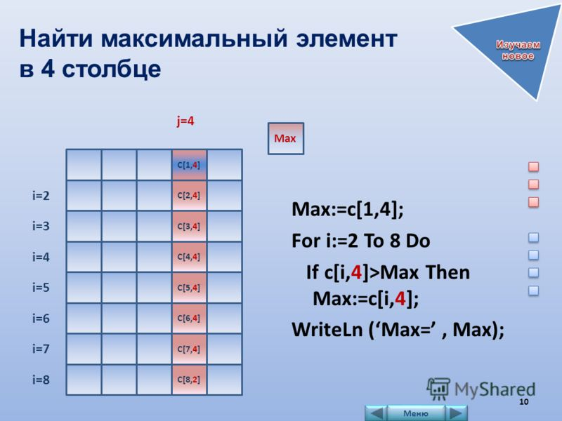 Найти максимальный элемент в 4 столбце Max:=c[1,4]; For i:=2 To 8 Do If c[i,4]>Max Then Max:=c[i,4]; WriteLn (Max=, Max); j=4 C[1,4] Max i=2 C[2,4] i=3 C[3,4] i=4 C[4,4] i=5 C[5,4] i=6 C[6,4] i=7 C[7,4] i=8 C[8,2] 10 Меню